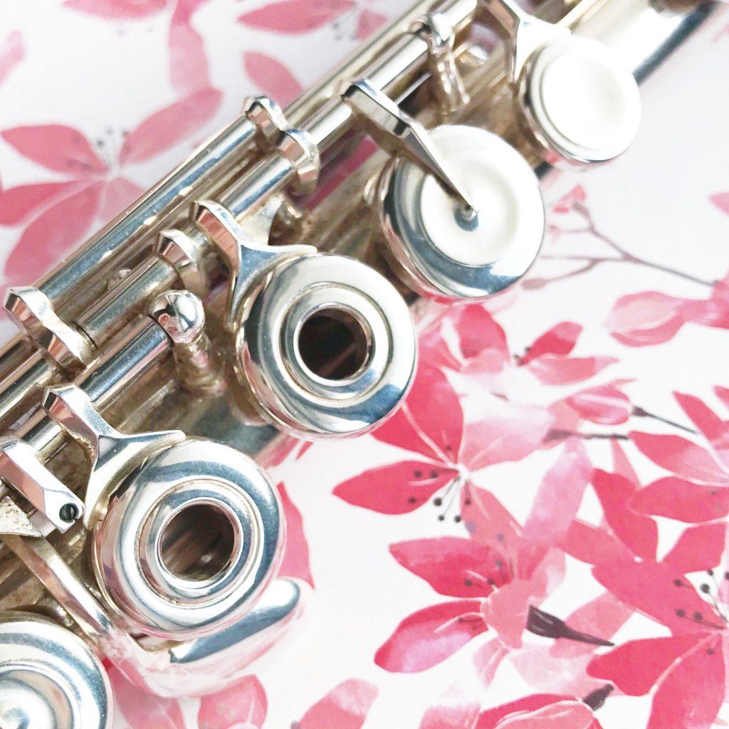 Querflöte auf gemustertem Untergrund, Ziele schaffen für das eigene Querflöte üben und die Flöten-Schüler