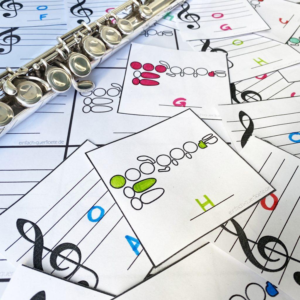 Memory Spiel zum selbst basteln mit Grifftabelle für Querflöte, zum Noten lesen lernen